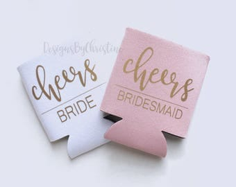 Can Coolers. Cheers Beer Cooler. Blush Bridesmaid Can Coolers. Bridesmaid Gifts. Weeding Coolers. Wedding Koozies