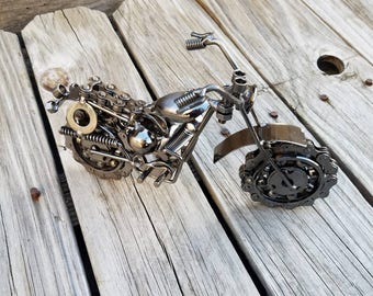 Motorcycle, harley, gifts for him, dirtbike gift, upcycled motorcycle, motorcycle gift, upcycled art, biker gift, motorcycle art, sturgis