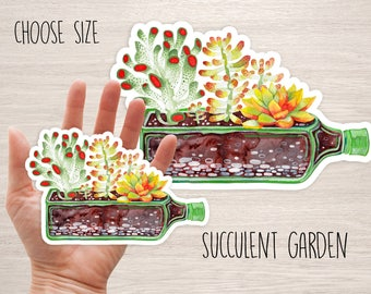 Succulent garden in the bottle vinyl decal sticker botanical floral watercolor cactus cool sticker plant laptop stickers by ruta 13 art