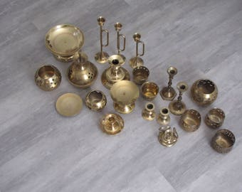 Vintage Brass Candle Holders - Large Lot - Wedding Decor - 20+ pieces