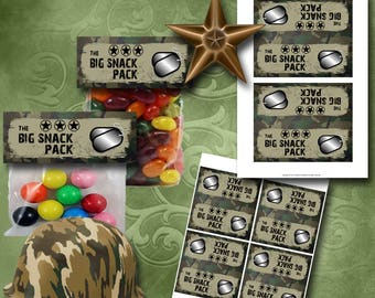 Army Treat Bag Toppers Instant Download Printable Treat Bag Toppers