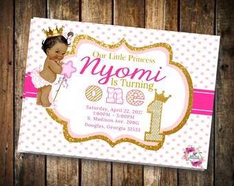First Birthday Princess Invitation, Princess Invitation, Birthday Girl, First Birthday, Royal Theme, Party Invitation, Printable Invitation