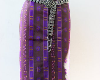 Lao Thai silk textile - sarong decoration style - narrow table runner - silk weaving (Sarong Dress)