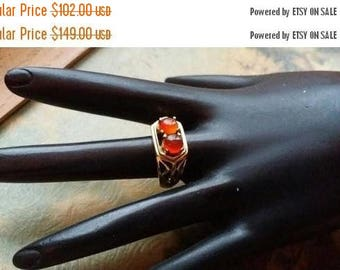 Holiday SALE 85 % OFF Carnelian  Size 8.5 Ring Gemstone. Golden Brass  Tribal Ethnic