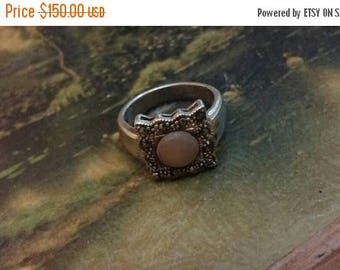 Holiday SALE 85 % OFF 1940s Vintage Estate Retro Marcasite Mother Of Pearl Pink Ring .925  Sterling Silver Size 7 SALE