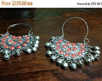 Holiday SALE 85 % OFF Red Coral  Hoop  Sterling silver Earrings Gemstone  .925