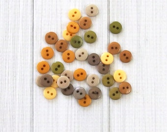 Tiny Buttons - Nature, 60 pieces - Small Round Buttons - Assorted Buttons - Craft Buttons - Mini Buttons
