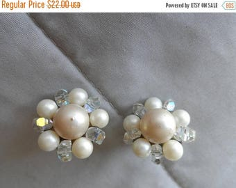 40% OFF Vintage 1940's Faux Pearl Clip On Earrings* Made In Japan . Sparkly Beads . WW II . Wedding . Party  Prom .