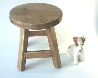 Wood Stool Miniature 7.5 inches tall, Doll Wood Stool,.Small stool, Tabletop stool, shelf sitter, Farmhouse decor Cottage