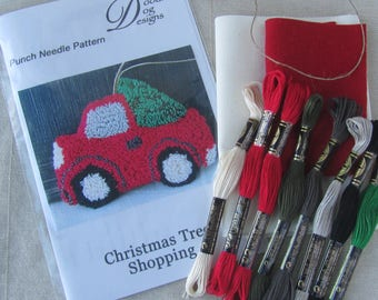 Punch Needle KIT ~ Vintage Red Truck with Christmas Tree ~ PunchNeedle Bowl Filler pattern ~ Punch Needle Kit ~ Christmas Tree Ornament