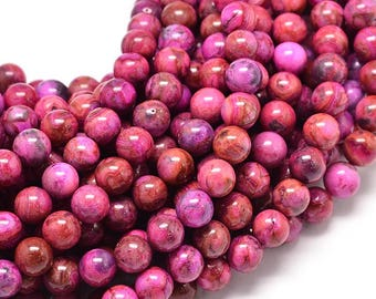 6mm Pink Crazy Lace Agate Stone Round Smooth Pink Agate Beads, Gemstone (10 beads) Pink Stone Beads, Pink Agate Beads Bright Pink