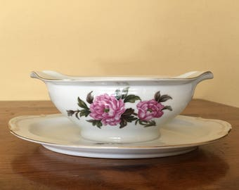 Vintage Attached Gravy Sauce Boat