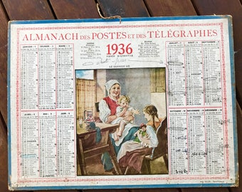 French post telegraphs and telephones, 1936 old calendar Almanac