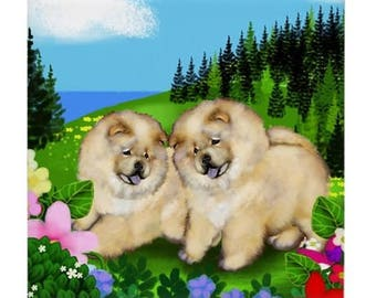 CHOW CHOW DOGS Meadow Field Art Ceramic Tile Coaster