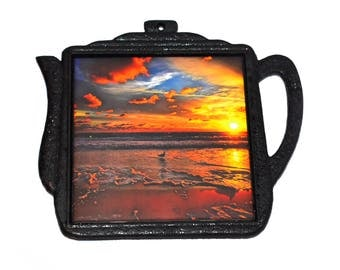 Hot Plate For Cooking  / Cast Iron Trivet / Beach House Kitchen Decor / Sunrise Photography / Heat Resistant / Beach Gift