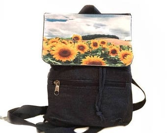 SALE Mini Sunflower Backpack / 3 Colors Available /  Long Slouchy Straps / Black Nylon, Khaki Canvas or Blue Denim / Gift for Girls