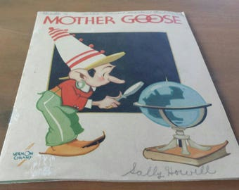 Vintage Kelloggs Mother Goose nursery rhymes, 1935. Good condition, clear graphics, has pencil writing on the front and back and 1 page