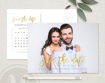 Calendar Save the Date Card - Calendar Save the Date Postcard Template, Save the Date Postcard, Gold Save the Date, Wedding Announcement
