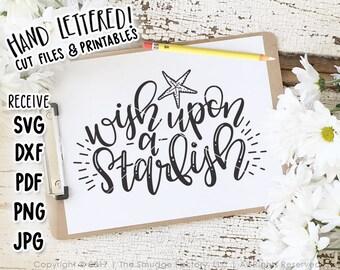 Summer Printable, Print, Wish Upon A Starfish, Beach Print, Beach House Decor, Hand Lettered Wall Art, Beach Decoration, Starfish Print