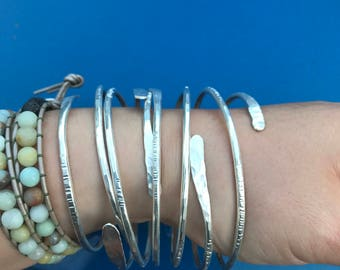 Hammered Fine, Sterling Silver or Brass Wrap Bangles