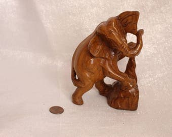 Carved Wood Elephant with Trunk up, Animal Carving Elephant, Lucky Elephant