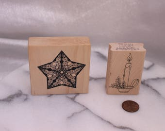 Set of Two Star and Candlestick Wood Stamps for Scrapbooking or Card Making Altered Art