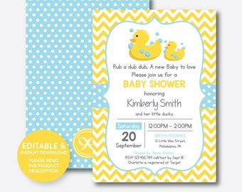 Instant Download, Editable Rubber Duck Baby Shower Invitation, Rubber Duck Invitation, Yellow Duck Invitation, Yellow Blue Chevron (SBS.67)