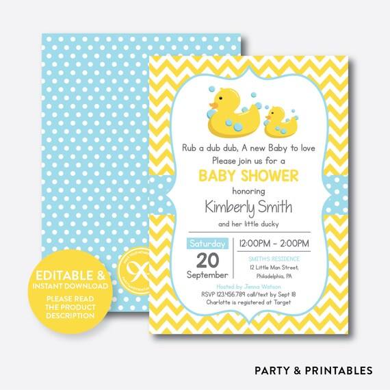 Instant Download Editable Rubber Duck Baby Shower Invitation