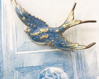 Antique Swallow Bird Brooch, Vintage Bird Brooch, Blue bird brooch, Victorian Brooch, Something Old, Something Blue