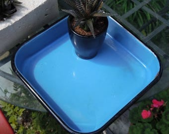 Enamelware / Blue Rectangular  Pan / Good Usable Condition / Kitchen? / Laboratory? / Great Color