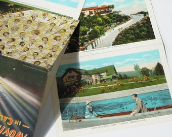 Hollywood Homes / Vintage Postcard Pack / Great Vintage Art and Color / Interesting Highlights