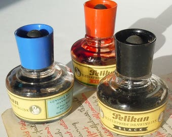 Ink Bottles with Rubber Tops / Old  Desktop / Pelikan Ink in Red, Blue and Black / Not Dry
