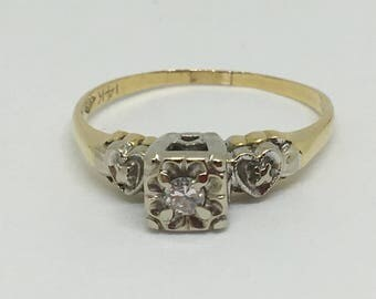 14K Yellow and White Gold .11Ct Diamond Engagement Ring with Hearts~Sweet! Size 7 3/4