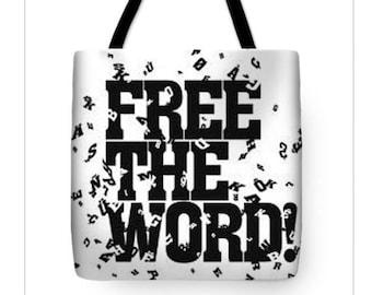Free The Word TOTE BAG (18X18), Poetry Tote, PoetryArt, Black and white tote bag, artist tote bag