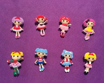 8-pc Lalaloopsy Shoe Charms for Crocs, Silicone Bracelet Charms, Party Favors, Jibbitz