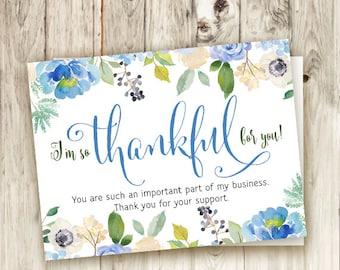Business Christmas Thank You Card - Printable - Instant Download - Thankful - Holiday - Floral - Handwritten - Rodan and Fields Blue Floral