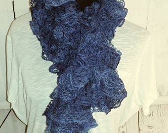 Blue adult scarf with sparkles throughout.