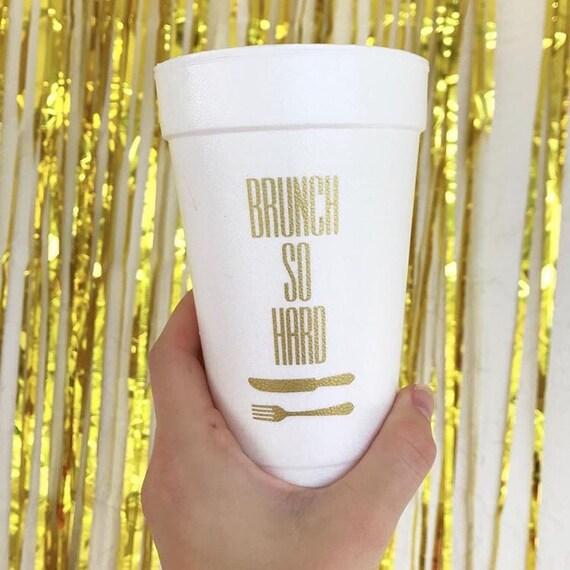 Birthday brunch cups, personalized foam cups, personalized birthday cups, birthday party cups, monogrammed foam cups, Breakfast party cups