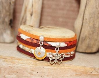 "Bracelet lucky charm ""Moth"" Burgundy & orange"