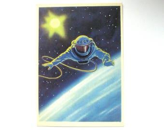 Space, Cosmonaut, Unused Postcard, Painting, Leonov, Unsigned, Rare Soviet Vintage Postcard, USSR, 1966, 1960s