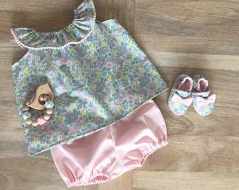 High collar ruffled toddler lace and Liberty Betsy Lemonade Nude pink
