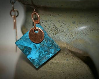 XMASINJULY Turquoise earrings, copper earrings, dangle earrings, patina earrings, verdigris earrings, patina jewelry, boho earrings, patina