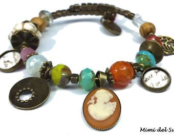 Orange and bronze multi-breloques cameo bracelet Czech (ref201)