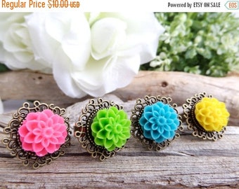 Colorful Flower Rings Dahlia Jewelry Neon Rings Floral Adjustable Ring Fuchsia Ring Turquoise Cameo Ring Yellow Flower Statement Rings Green