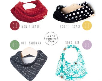 Baby Bib patterns. PDF bundle pack. Baby scarf. Bandana bib. Infinity scarf. Boho bib. Scarf bib. Baby sewing patterns. Bandana bib pattern