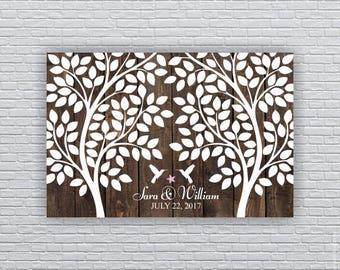 Wedding Guest tree, 160 Leaf, Hummingbird, Starfish, Wood planks, Rustic Wedding 20x30, Wedding Guest Book Alternative, INSTANT DOWNLOAD