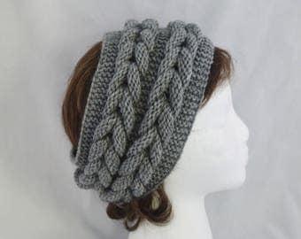 Wide Headband, Cable Knit Headband, Chunky Ear Warmer, Knitted Earwarmer, Winter Headband, Turban, Valentines Day Gift Idea