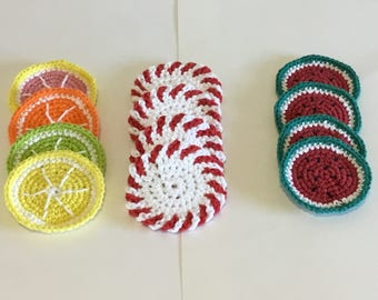 Cotton Fruit Coasters, 4  peppermint Christmas coasters, 4 Citrus coasters, 4 watermelon coasters, crochet coasters