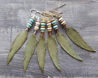 Green feather earrings. Leather feather earrings. Gemstone beaded earrings. Long drop earrings. Boho earrings. Bohemian earrings. Boho chic.