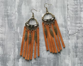 Genuine Leather Fringe Earrings. Country Chic Jewelry. Bohemian Earrings. Boho Earrings. Country Girl Earrings. Western Jewelry. Boho Chic.